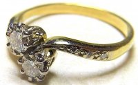 Antique Guest and Philips - Two Stone Round Brilliant Crossover Dress Ring