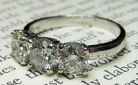 Antique Guest and Philips - Platinum and Round Briliant Cut Diamond Set, 3 Stone Ring