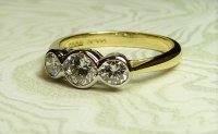Antique Guest and Philips - Yellow and White Gold Round Brilliant Diamond Rubbed Over Set 3 stone Ring