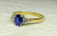 Antique Guest and Philips - Yellow and White Gold Sapphire Set Three Stone Ring