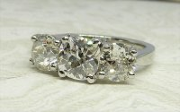 Antique Guest and Philips - Diamond Set, Platinum - Three Stone Ring