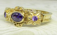 Antique Guest and Philips - Yellow Gold and Amethyst - Three Stone Ring