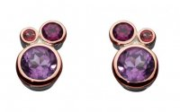 Kit Heath - Cascade, Amethyst, Pink Tourmaline and Rhodolite Set, Sterling Silver Stud Earrings