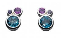 Kit Heath - Cascade, Amethyst and Lolite Set, Sterling Silver Stud Earrings