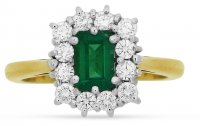 Guest and Philips - Emerald 0.50ct Diamond 0.38ct Set, Yellow Gold - White Gold - 18ct Cluster Ring, Size N