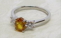 Antique Guest and Philips - Platinum and Yellow Sapphire - Three Stone Ring