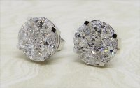 Antique Guest and Philips - Diamond Set, White Gold - Eight Stone Cluster Stud Earrings