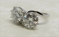 Antique Guest and Philips - Diamond Set, Platinum - Two Stone Ring