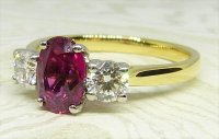 Antique Guest and Philips - Yellow Gold - White Gold and Ruby - Three Stone Ring
