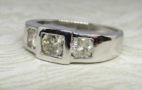 Antique Guest and Philips - 0.85ct  White Gold and Diamond Set Three Stone Ring