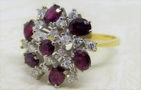 Antique Guest and Philips - 1.00ct Ruby Set, Yellow Gold - White Gold - Cluster Ring