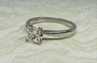 Antique Guest and Philips - White Gold and Diamond Set Single Stone Ring