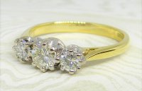 Antique Guest and Philips - Yellow Gold, White Gold and Diamond - Three Stone Ring