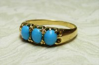Antique Guest and Philips - Yellow and White Gold Turquoise Set Three stone Ring