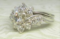 Antique Guest and Philips - White Gold and Diamond - Cluster Ring