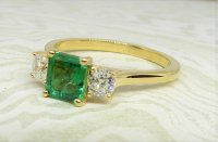 Antique Guest and Philips - Yellow Gold and Emerald - Three Stone Ring