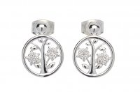 Unique - Tree of Life, Cubic Zirconias Set, Sterling Silver Stud, Earrings