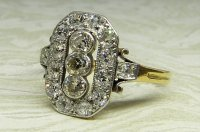 Antique Guest and Philips - Yellow and White Gold Diamond Set Cluster Ring