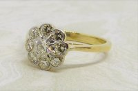 Antique Guest and Philips - 0.50ct Diamond Set, Yellow Gold - White Gold - Cluster Ring