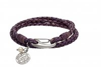Unique - Pearl Set, Leather - Stainless Steel - Violet Leather Bracelet with Pearl, Size 19cm