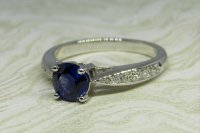 Antique Guest and Philips - 0.85ct 18ct White Gold and Sapphire Set, Single Stone Ring