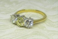 Antique Guest and Philips - Yellow Gold and Diamond Set Three Stone Ring