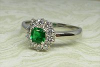 Antique Guest and Philips - Platinum and Emerald Set Cluster Ring