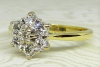 Antique Guest and Philips - Yellow Gold and Diamond - Seven Stone Cluster Ring