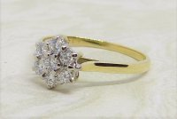 Antique Guest and Philips - 0.45ct Diamond Set, Yellow Gold - White Gold - Cluster Ring