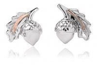Clogau - Royal Clogau Oak, Silver and Welsh Gold Stud Earrings