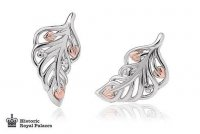 Clogau - Debutaunte, Silver and Welsh Gold Feather, Stud Earrings