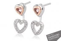 Clogau - David Emanuel, Swarovski Set, Silver Heart Earrings
