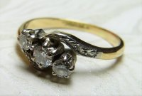 Antique Guest and Philips - Platinum and 18ct Yellow Gold Round Brilliant Diamond Set 3 stone Ring