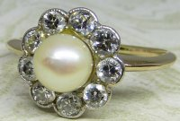 Antique Guest and Philips - 18ct Yellow Gold and Platinum Pearl Set, Cluster Ring
