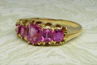 Antique Guest and Philips - Yellow Gold and Pink Sapphire Set Five Stone Ring