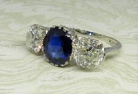 Antique Guest and Philips - Platinum and Sapphire Set Three Stone Ring
