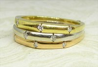 Antique Guest and Philips - Diamond Set, Yellow Gold - Three Row Band Ring