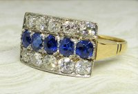 Antique Guest and Philips - Yellow Gold, Platinum and Sapphire Three Row Cluster Ring