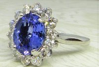Antique Guest and Philips - 4.25ctTanzanite Set, White Gold - Oval Cluster Ring