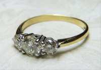 Antique Guest and Philips - Diamond Claw Set, Yellow Gold - Three Stone Ring