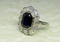 Antique Guest and Philips - Platinum and Sapphire Set Cluster Ring