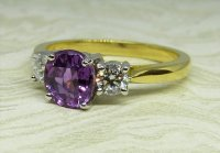 Antique Guest and Philips - Yellow and White Gold Purple Sapphire Set Three Stone Ring