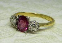 Antique Guest and Philips - Yellow and White Gold Ruby Set Three Stone Ring