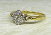 Antique Guest and Philips - Diamond Set, Yellow Gold - White Gold - Seven Stone Ring