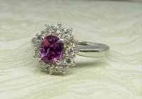 Antique Guest and Philips - Platinum and Pink Sapphire Cluster Ring