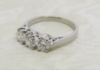 Antique Guest and Philips - Platinum and Diamond - Three Stone Ring