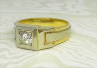Antique Guest and Philips - Yellow Gold, Platinum and Diamond - Single Stone Ring
