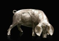 Richard Cooper - Bronze Small Gloucester Oldspot Pig Ornament, Size 8cm