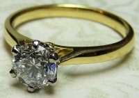 Antique Guest and Philips -  Yellow Gold - White Gold and Diamond - 18ct Solitaire Ring