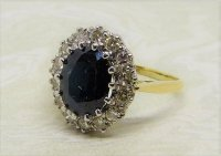 Antique Guest and Philips - 2.20ct Sapphire Set, Yellow Gold - White Gold - Cluster Ring